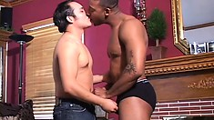Horny white boy and a black stud set up a gay encounter to fulfill their desires